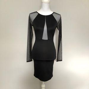 Forever 21 Dress Body Con Black Mesh Panels Zipper